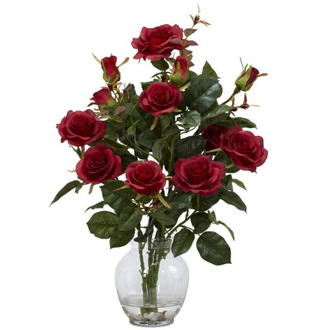 Nearly Natural 1281-RD Rose Bush With Vase Silk Flower Arrangement - Peazz.com