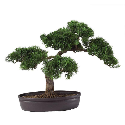 "Cedar Bonsai 16"" Silk Plant - Peazz.com"
