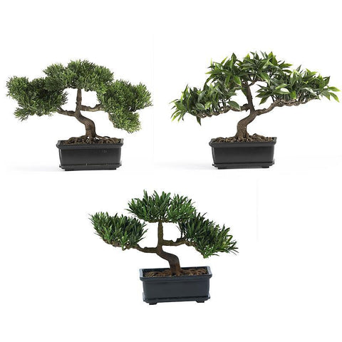 "12"" Bonsai Silk Plant Collection Set of 3 - Peazz.com"