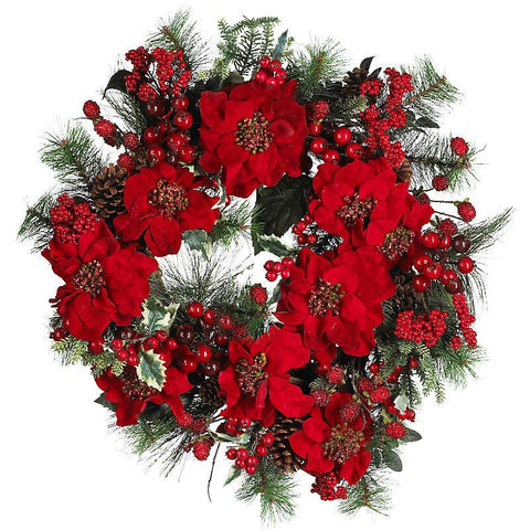 "24"" Poinsettia Wreath - Peazz.com"