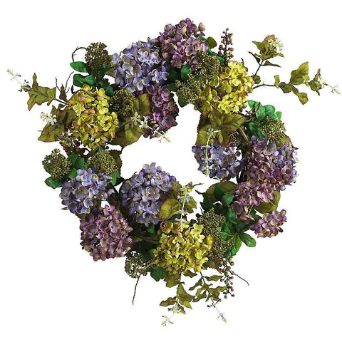 "24"" Mixed Hydrangea Wreath - Peazz.com"