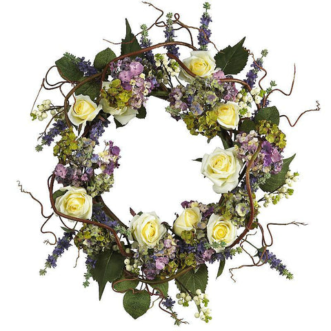 "24"" Hydrangea Rose Wreath - Peazz.com"