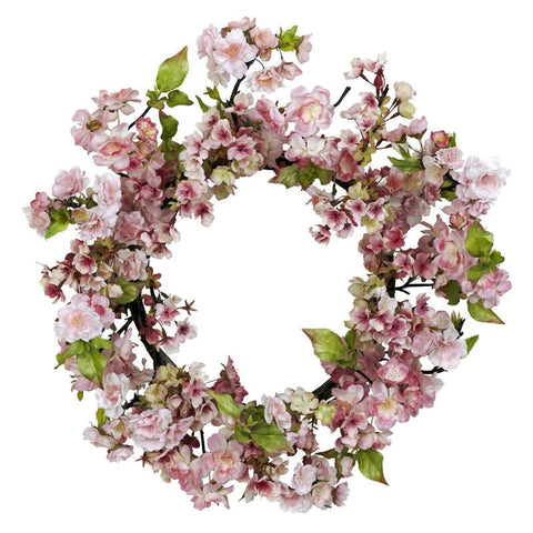 "Nearly Natural 4783 24"" Cherry Blossom Wreath - Peazz.com"