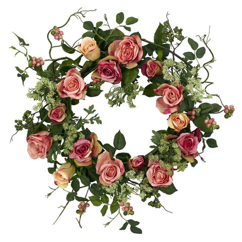 "Nearly Natural 4802 20"" Rose Wreath - Peazz.com"
