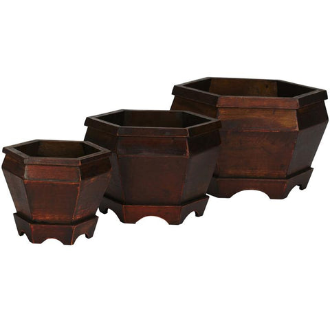 Nearly Natural 507 Wooden Hexagon Decorative Planter (Set of 3) - Peazz.com