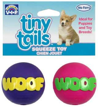 2 Quantity of Vinyl Tiny Tails Dog Toy Squeaky Woof Balls 25 2pk