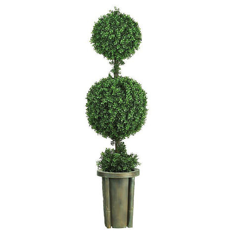 5' Double Ball Leucodendron Topiary w/Decorative Vase Indoor/Outdoor - Peazz.com