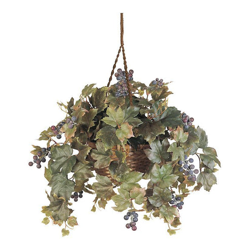 Grape Leaf Hanging Basket Silk Plant - Peazz.com