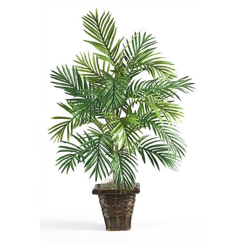 Areca Palm w/ Wicker Basket Silk Plant - Peazz.com