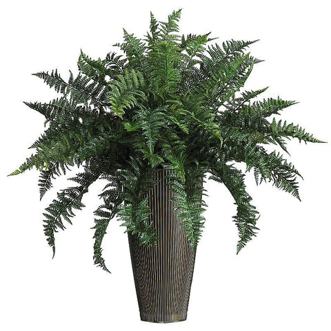 Ruffle Fern w/ Decorative Vase Silk Plant Indoor/Outdoor - Peazz.com