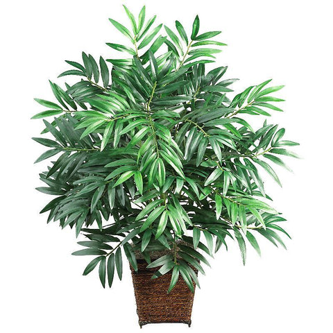 Bamboo Palm w/Wood Wicker Basket Silk Plant - Peazz.com