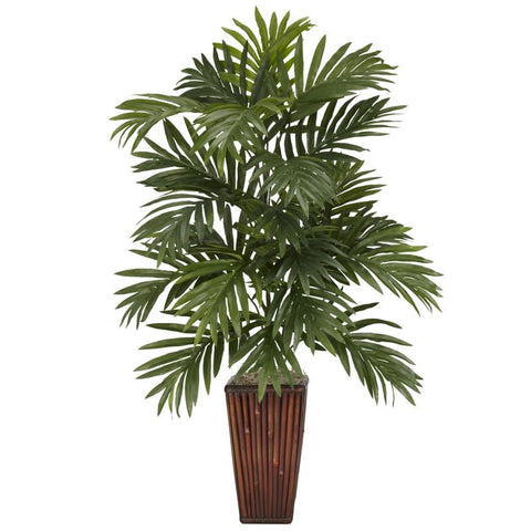 Nearly Natural 6675 Areca Palm With Bamboo Vase Silk Plant - Peazz.com