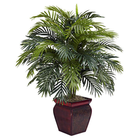 Nearly Natural 6686 Areca With Decorative Planter Silk Plant - Peazz.com