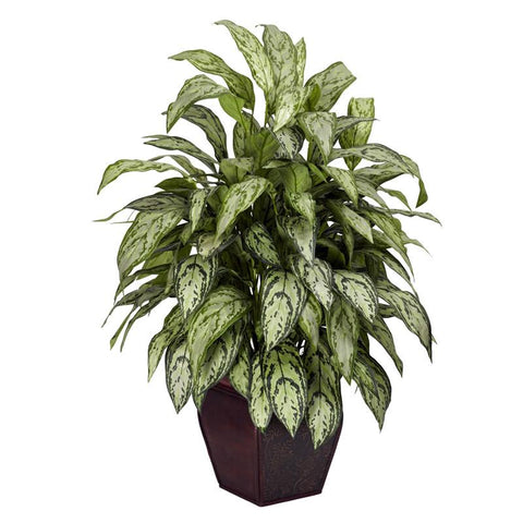 Nearly Natural 6693 Silver Queen With Decorative Planter Silk Plant - Peazz.com