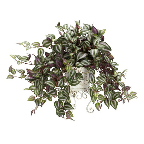 Nearly Natural 6697 Wandering Jew With Metal Planter Silk Plant - Peazz.com