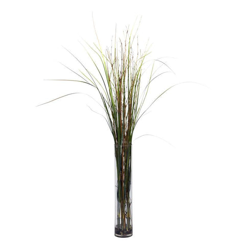 Nearly Natural 6699 Grass & Bamboo With Cylinder Silk Plant - Peazz.com