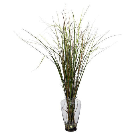 Nearly Natural 6701 Grass & Bamboo With Large Jar Silk Plant - Peazz.com