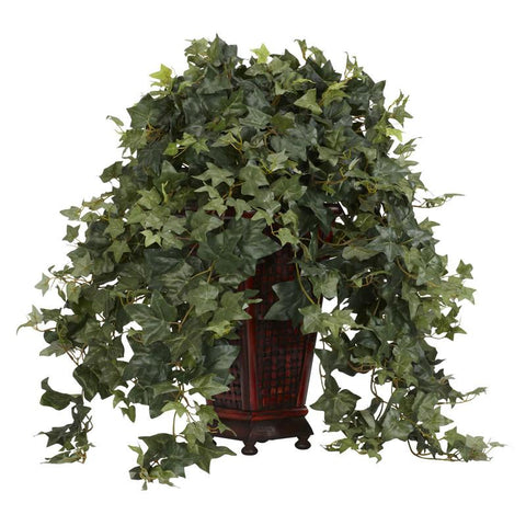 Nearly Natural 6702 Vining Puff Ivy With Decorative Vase Silk Plant - Peazz.com