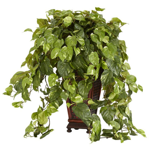Nearly Natural 6703 Vining Pothos With Decorative Vase Silk Plant - Peazz.com