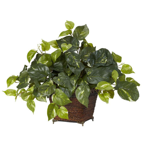 Nearly Natural 6704 Pothos With Coiled Rope Planter Silk Plant - Peazz.com