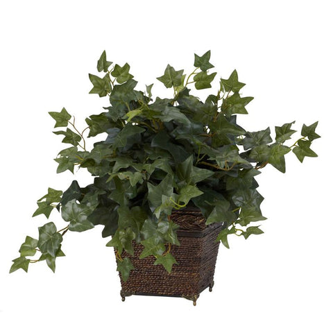 Nearly Natural 6705 Puff Ivy With Coiled Rope Planter Silk Plant - Peazz.com