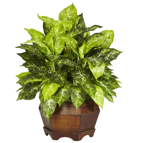 Nearly Natural 6709 Variegated Dieffenbachia With Large Hexagon Silk Plant - Peazz.com