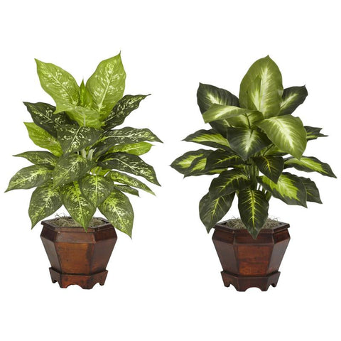 Nearly Natural 6712-S2-AS Dieffenbachia With Wood Vase Silk Plant (Set of 2) - Peazz.com
