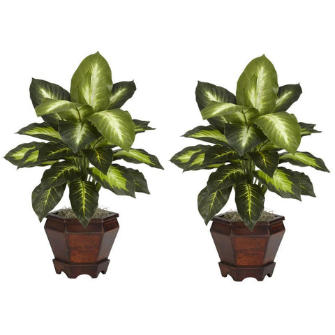 Nearly Natural 6712-S2-GD Dieffenbachia With Wood Vase Silk Plant (Set of 2) - Peazz.com