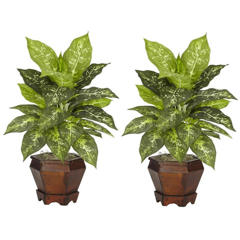 Nearly Natural 6712-S2-VR Dieffenbachia With Wood Vase Silk Plant (Set of 2) - Peazz.com