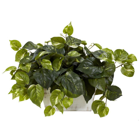 Nearly Natural 6713 Pothos With White Wash Planter Silk Plant - Peazz.com