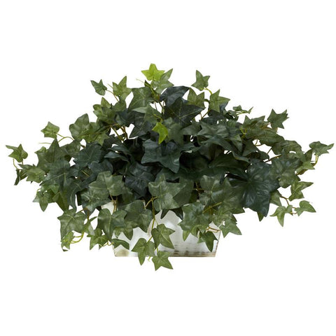 Nearly Natural 6715 Ivy With White Wash Planter Silk Plant - Peazz.com