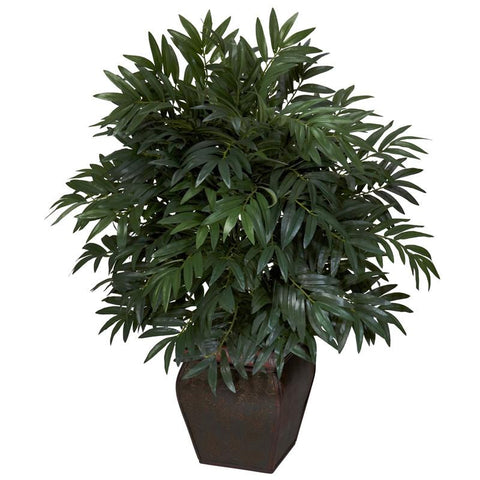 Nearly Natural 6718 Double Bamboo Palm With Decorative Planter Silk Plant - Peazz.com