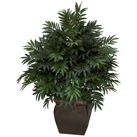 Nearly Natural 6719 Triple Bamboo Palm With Decorative Planter Silk Plant - Peazz.com