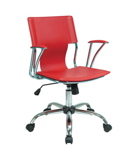 Office Star Ave Six DOR26-RD Dorado Office Chair with Fixed Padded Arms and Chrome Finish in Red - Peazz.com