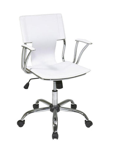 Office Star Ave Six DOR26-WH Dorado Office Chair with Fixed Padded Arms and Chrome Finish in White - Peazz.com