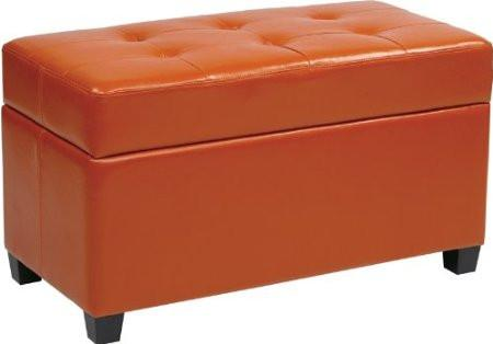 Office Star OSP Designs MET804V-PB18 Vinyl Storage Ottoman in Orange - Peazz.com