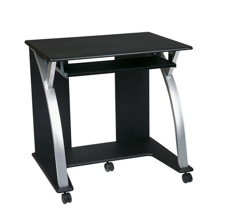Office Star OSP Designs SAT117 Computer Cart (Black with Silver) - Peazz.com