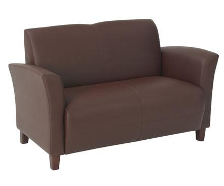Office Star OSP Furniture SL2272EC6 Wine Eco Leather Love Seat with Cherry Finish Legs. Rated for 500 lbs of distributed weight. Shipped Semi K/D. - Peazz.com