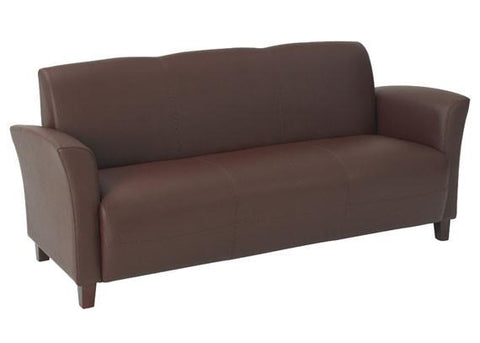Office Star OSP Furniture SL2273EC6 Wine Eco Leather Sofa with Cherry Finish Legs.  Rated for 675 lbs of distributed weight. Shipped Semi K/D. - Peazz.com