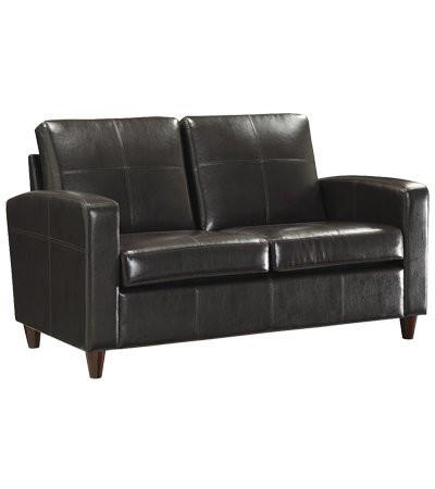 Office Star OSP Furniture SL2812-EC1 Espresso Eco Leather Loveseat with Espresso Finish Legs - Peazz.com
