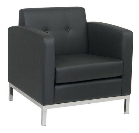Office Star Ave Six WST51A-B18 Wall Street Arm Chair in Black Faux Leather - Peazz.com