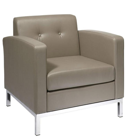Office Star Ave Six WST51A-U22 Wall Street Arm Chair in Smoke Faux Leather - Peazz.com