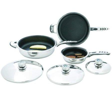 B&F System KTFP6 Precise Heat High-Quality, Heavy-Gauge Stainless Steel 6pc Non-Stick Skillet Set - Peazz.com