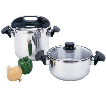 B&F System KTPCST4 Precise Heat T304 Stainless Steel 4pc Pressure Cooker Set - Peazz.com