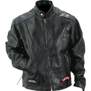B&F System GFCRLTR3X Diamond Plate Rock Design Genuine Buffalo Leather Motorcycle Jacket - Peazz.com