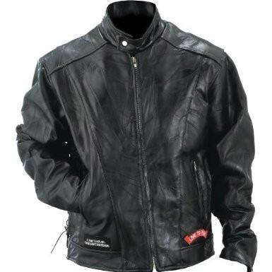B&F System GFCRLTRM Diamond Plate Rock Design Genuine Buffalo Leather Motorcycle Jacket - Peazz.com