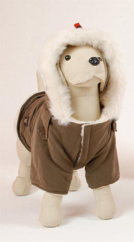 Pet Ego Dogrich Siberian Mocha Winter Coat Size 16 - Peazz.com