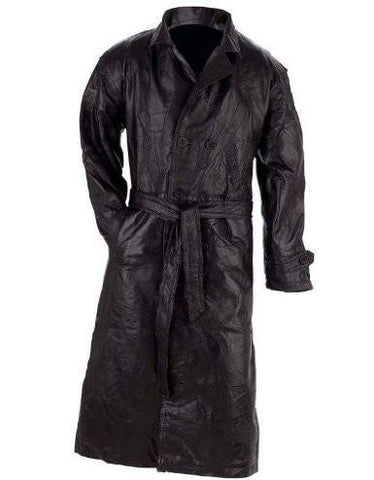 B&F System GFTRXL Giovanni Navarre Italian Stone Design Genuine Leather Trench Coat - Peazz.com