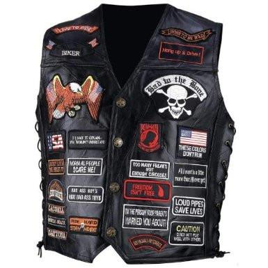 B&F System GFVBIK423X Diamond Plate Rock Design Genuine Buffalo Leather Biker Vest with 42 Patches - Peazz.com