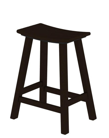 "Polywood 2001-MA Traditional 24"" Saddle Bar Stool in Mahogany - PolyFurnitureStore"